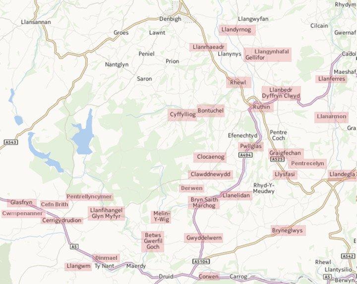 Map Dalgylch y Bedol